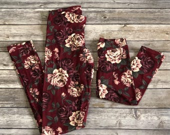 Matching Mommy and Me Leggings - Mother and Daughter Leggings  - Super Soft Leggings - Matching Leggings - Floral Leggings