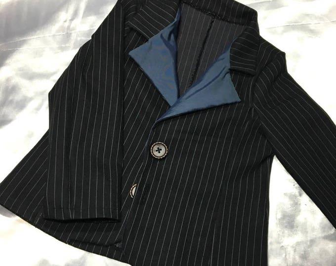 Veste tailleur en jean noir à rayures blanches non doublée