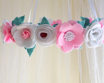 Baby mobile cot mobile felt flower mobile cot mobile nursery mobile pink mobile baby shower mobile