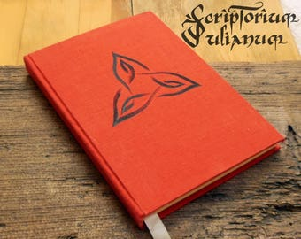 Triquetra journal, orange journal, knotwork, book of shadows, druid journal, pagan gift,Celtic gift,Wicca, Ostara gift, Easter gift
