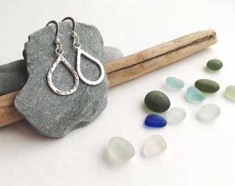 Aqua drop earrings, handmade, jewellery, sterling silver, hammered, textured, wave, water, unique, beach, boho, surf, women's accessories