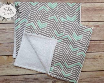 Chevron burp cloth set, Boy burp cloth, Embroidered Chevron burp cloth, Chevron Nursery, Teal burp cloths, personalized baby shower gift