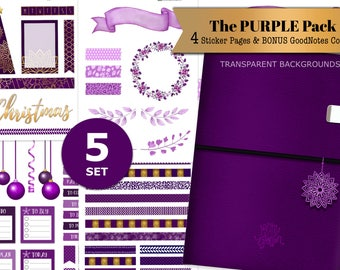 Digital Journal Stickers Purple Christmas Decorations Washi And GoodNotes Cover Bundle