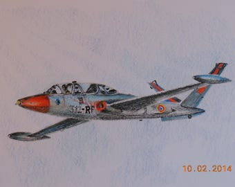 "Airplane ""FOUGA MAGISTER"" colored pencil drawing"