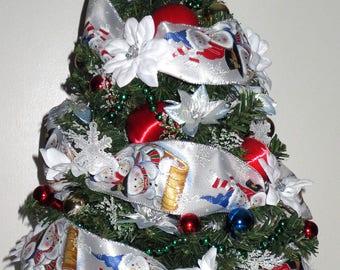 Polar Express, tabletop Christmas Tree, Christmas Decoration, OOAK Christmas, Topiary Tree, Mini Christmas Tree, Home Decor, Handmade, Gift