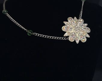 Off centre crystal flower necklace