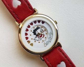 Betty Boop Watch Rotating Hearts and Red Leather Band