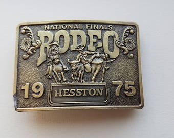 National Finals Rodeo 1975 Hesston Brass Belt Buckle