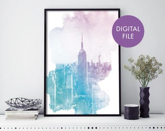 Empire State Building, New York Watercolour Print Wall Art | Print At Home | Digital Download File
