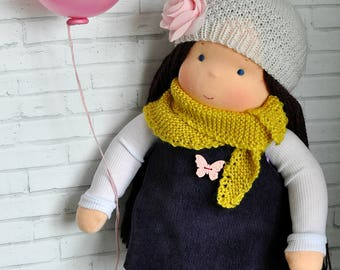 Textile Waldorf doll Alexia  14,17 inch (36 cm) MADE TO ORDER