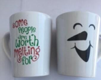 Snowman coffee mug, Christmas coffee mug
