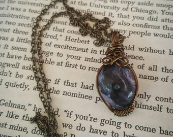 Amazing Hand Polished Charoite & Vintage / Antique Brass wire wrapped pendant necklace hung on matching chain // gift for her // collectable