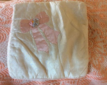 Art Deco Lovely Soft Silk Case with Appliqué and ribbon work