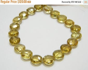 8 inch strand--10 mm approx-- Fine Quality Champagne Quartz Faceted Coin Briolettes