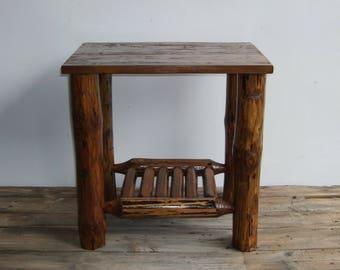 Rustic log coffee table furniture pine wood brown natural