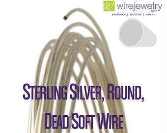0.925 Sterling Silver, Round, Dead Soft Jewelry Wire, Various Gauges & 5FT Length