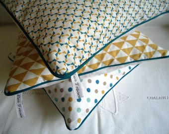Cushion cover graphic in mustard and teal blue piping electives duck to order