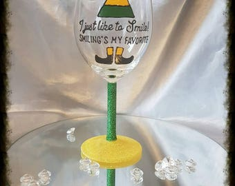 Hand painted Buddy the elf wine glass