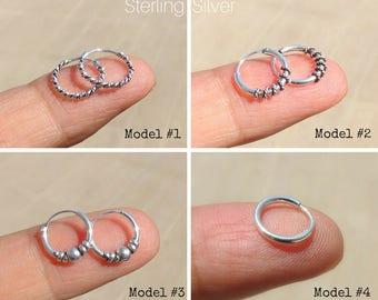 Silver Hoops, Silver Hoop Earrings, Bali Hoops, Mini Hoops, Tiny Hoops, Boho, Ethnic, Tribal, Sterling Silver Hoop Earrings, Sterling Hoops.