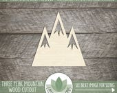 Wood Mountain Laser Cut Shape, DIY Craft Supply, Wood Mountain Cutout, Three Peak Mountain,  Many Size Options