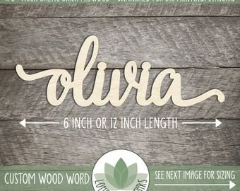 Custom Wood Word, Personalized Wooden Name, Custom Laser Cut Wood Name, Nursery Decor, DIY Laser Cut Wood Shapes, Lowercase Letters Only