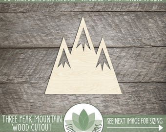 Wood Mountain Laser Cut Shape, DIY Craft Supply, Wood Mountain Cutout, Three Peak Mountain,  Many Size Options
