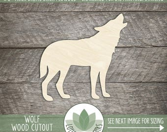 Wood Wolf Laser Cut Shape, Wood Shape, DIY Crafting Supply, Many Size Options