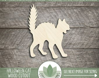 Spooky Halloween Scaredy Cat, Laser Cut Wood Shape, DIY Halloween Decor, Many Size Options, Hissing Halloween Cat Silhouette