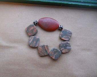 carnelian and jasper stretch bracelet