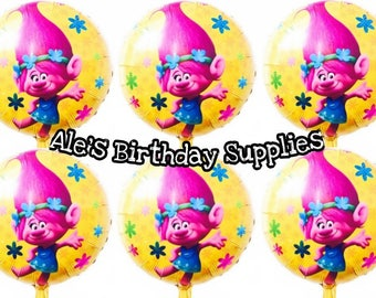 6 Pc Trolls Poppy Balloons Party Birthday Supplies