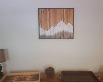 Wood wall decor, barn wood decor, farmhouse decor, Reclaimed wood wall art, Mountains