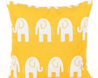 SALE ENDS SOON Yellow Elephant Nursery Pillow Cover, Yellow Throw Pillow Cover, Kids Room Pillows, Yellow Nursery Decor, Bright Yellow Pillo