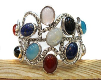 Beautiful Hand Crafted Multi-Gemstone 925 Sterling Silver Cuff Bracelet For