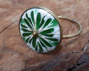 Stunning Statement Green Shell Brass Bangle