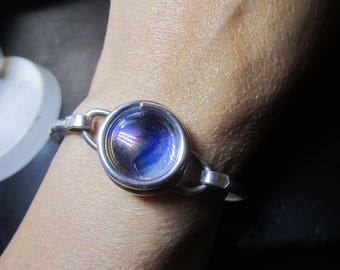 Sterling Silver 925 Handcrafted Dichroic Glass Bracelet (17 grams)!