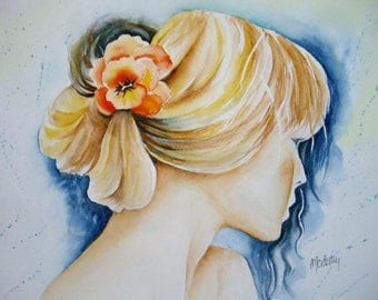 Watercolor painting Panel 35 x 27 cm pretty Aurélie decoration