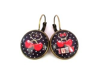 Cherry earrings, rockabilly, earrings, earrings pin-up, glass cabochon, bronze, alodycrea