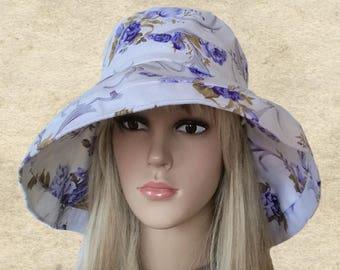 Summer fabric hats, Women's sun hats, Blue cotton hats, Wide brim sun hat, Floppy summer hat, Beach floppy hats, Sun protection hats