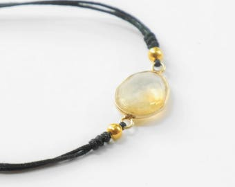 Stone semi-precious Citrine fine and minimalist adjustable bracelet adorned with a citrine / bracelet / minimalist bracelet
