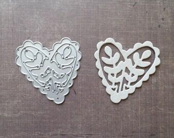 Die cut Stencil Sizzix heart leaf