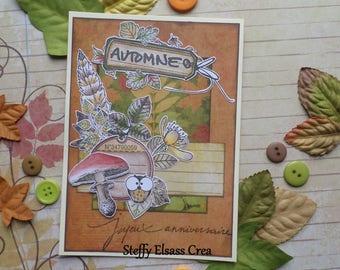 Card season autumn happy birthday OWL Orange mushroom
