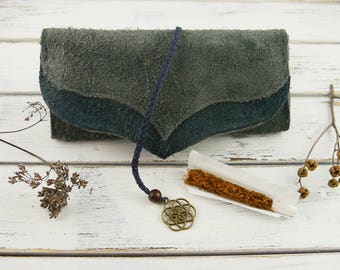 Leather tobacco bag - tobacco pouch - suede leather pouch - leather purse - tobacco Organizer - recycled leather - seed of life - brass