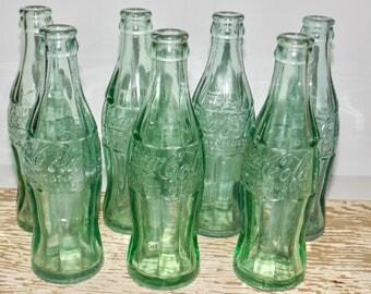 Coca Cola hobble skirt green glass bottles,set of 7,D Patent bottles,105529,Palmerton PA, 1938-1951,6 oz coke bottles,coca cola soda bottle