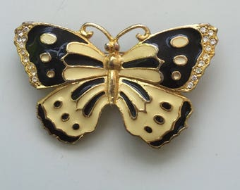 Lovely Vintage Black &. Cream Butterfly Brooch .