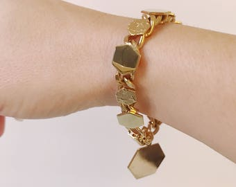 Vintage Hexagon Gold Charm 70's Bracelet