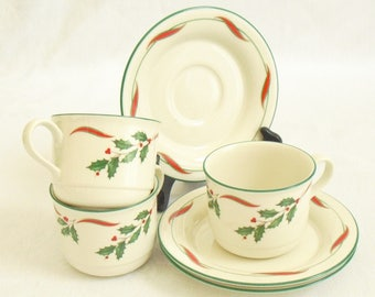 Vintage Country Holly by Lenox Chinastone, Red Ribbon, Holly, Green Trim, 3 Flat Cups, 3 Saucers, Christmas China, Holiday Tableware, Dishes