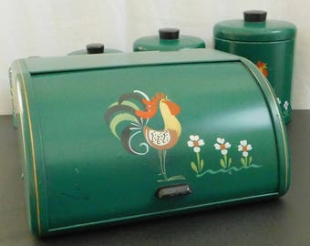 Vintage Forest Green Ransburg 4 Piece Canister Set, Handpainted Rooster, Matching Bread Box, Folk Art, Country, Farmhouse, Primitive Kitchen