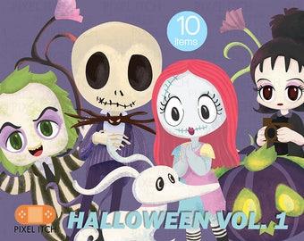Halloween Clipart- Horror Movie Clipart - Cute Horror Clipart - Beetlejuice, Pumpkin, Skull, Nightmare , Tim Burton, Beetlejuce