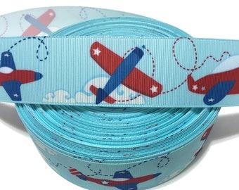Airplane Ribbon, Jet Plane Ribbon, Airplane Grosgrain Ribbon