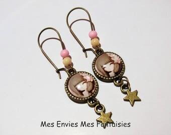 ღ girl earrings / fashion Beige and Rose Bronze ღ